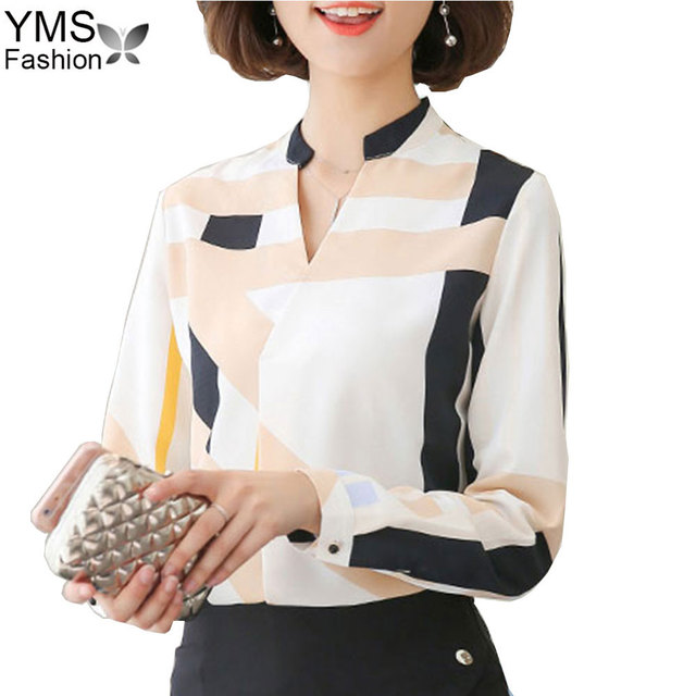 0567f849b4050 New 2017 Autumn Fashion V-Neck Chiffon Blouse Shirts Korean Long Sleeve  Slim Women Blouse Casual Office Tops Female Plaid Shirt