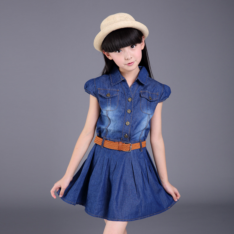 Dresses For Girls Cotton Casual Children Dress For Girls Sashes Button Kids Clothes For Girls Denim Girls Dresses Summer 2016