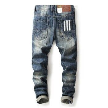 2019 Famous Balplein Brand Fashion Designer Jeans Men Straight Blue Color Printed Mens Jeans Ripped Jeans,100% Cotton!W9003 fashion designer men jeans blue 100