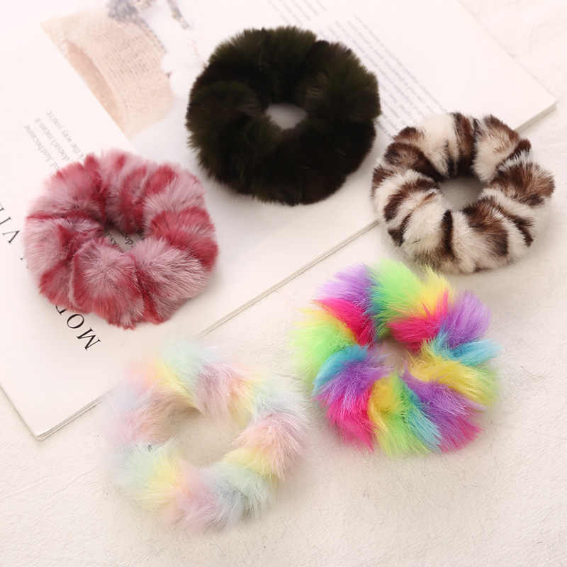 AIKELINA NEW Winter Warm Soft Faux Rabbit Fur Girls Women Elastic Hair Rope Bands Hair Accessories Children Rubber Band Headwear