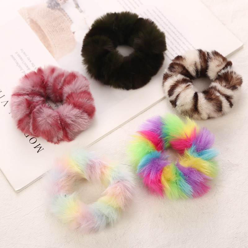 AIKELINA NEW Winter Warm Soft Faux Rabbit Fur Girls Women Elastic Hair Rope Bands Hair Accessories Children Rubber Band Headwear