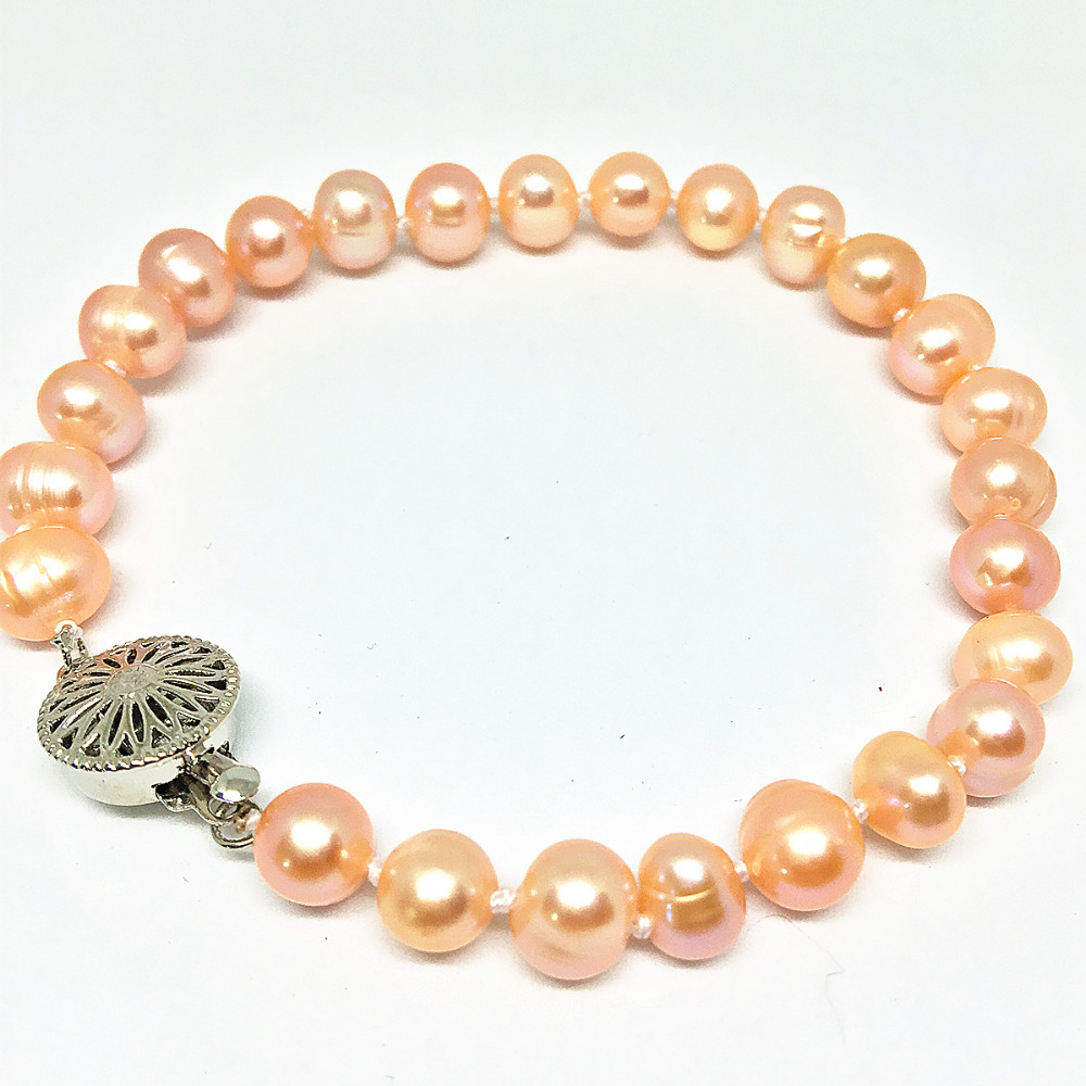 Charms freshwater cultured natural orange pearl approx round beads 7-8,8-9mm pretty girl hot bracelet jewelry 7.5inch B1525