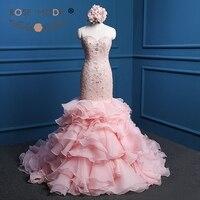 Rosa Moda di Alta Qualità Blush Pink Lace Mermadi abiti Abito Da Sposa con Organza A File Gonna Illusion Indietro con Cristalli e Perle