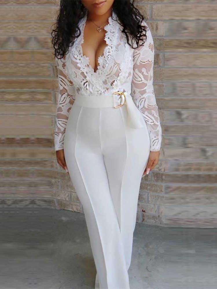 2019 קיץ נשים אלגנטי לבן סקסי V-צוואר Slim Fit תלבושת טלאים סרוגה לצלול ריס תחרה מחוך הכנס סרבל כולל