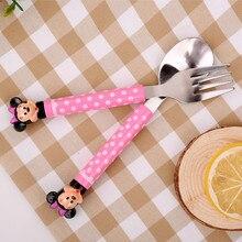 2 шт./компл. мультяшная Ложка Вилка контейнер для пищи комплект Kawaii для маленьких девочек мальчиков столовая посуда из нержавеющей стали Комплект B