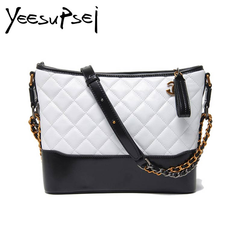 YeeSupSei 2 Size Women Messenger Bag Cowhide Leather Crossbody Bag Diamond Lattice Young Lady Chain Shoulder Bag Design Handbag lemon design chain bag