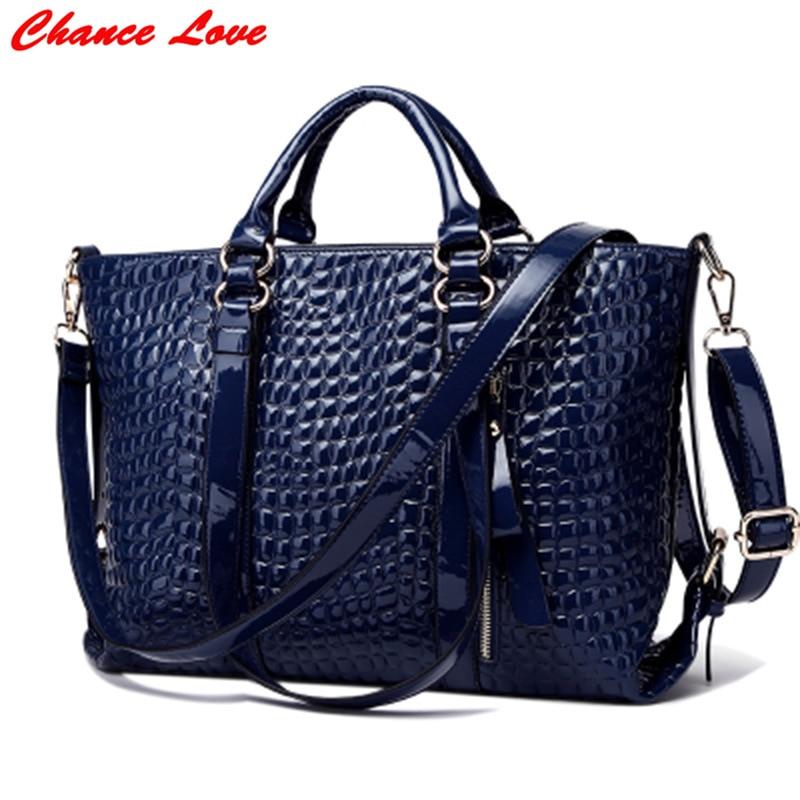 ФОТО Chance Love European and American Style Crocodile Pattern Ladies Handbag High Quality PU Solid Color Zipper Ladies Fashion Bag