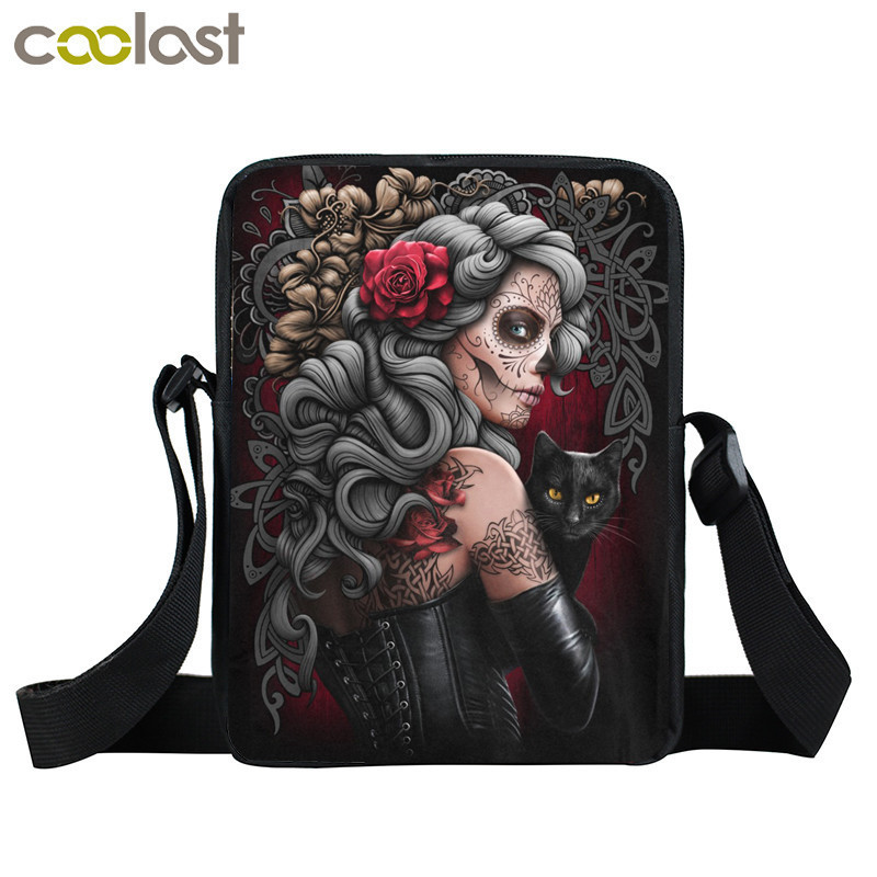 Dark Gothic Bag Girls Boys Mini Messenger Bag Punk Women Handbags Grim Reaper Teenage Shoulder Bag Skull Crossbody Bags for Men anime attack on titan mini messenger bag boys ataque on titan school bags mikasa ackerman eren shoulder bags kids crossbody bag