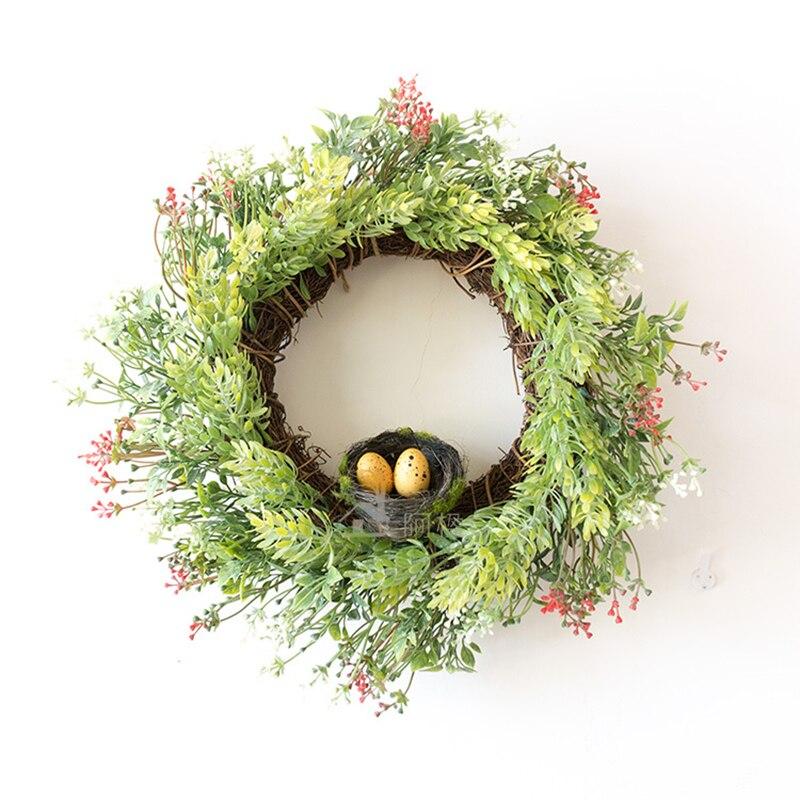 33CM Straw Wreath Artificial Plants Nest Wedding Decoration Hanging Trim Decorative Village Wall Hanging Garland S $