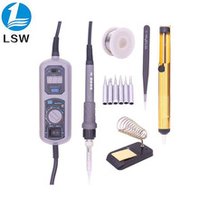 купить PIGONG 908D LED Digital Soldering Station Mini Portable Adjustable Electric soldering iron Welding tools kit set дешево