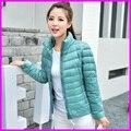 2016 женщин ультра легкий пуховик зима утка вниз куртки женщин тонкий с длинным рукавом куртка на молнии пальто Плюс Размер 4XL