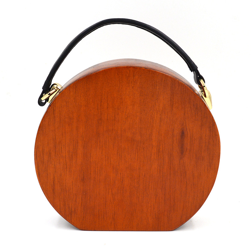 2016 new fashion women's personality of western style wood dinner bag semi-circular wooden unique handbag
