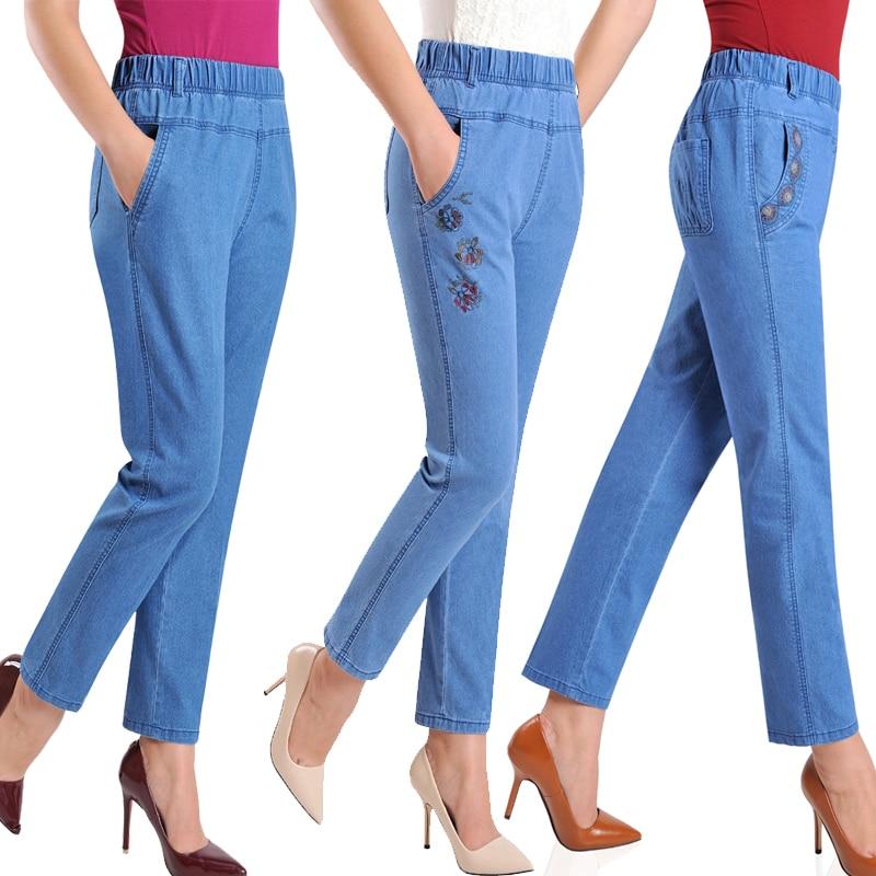 Plus Size 5XL Jeans Female 2019 Spring Summer New Embroidery Nine Denim Pants Slim High Waist Elasticity Casual Women Pants H450