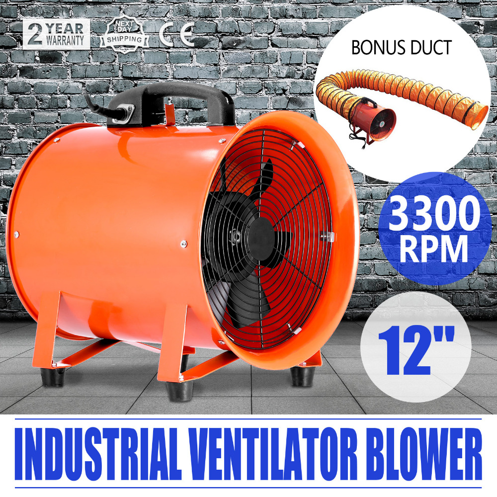 VEVOR Utility Blower Fan 12 Inch Portable Ventilator High Velocity Utility Blower Mighty Mini Low Noise With 5M Duct Hose (12 In