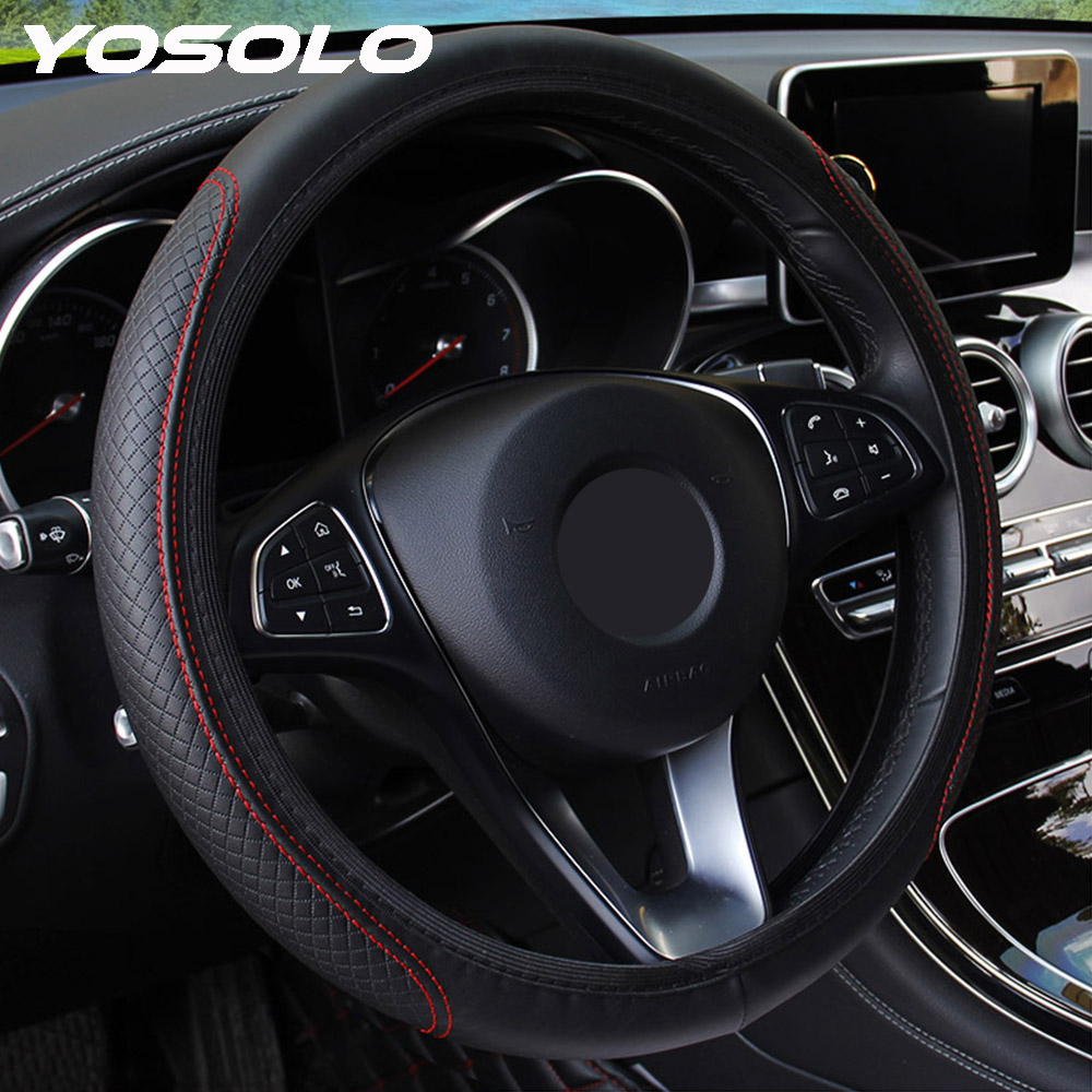 YOSOLO Steering-Wheel-Cover Embossing Skidproof Anti-Slip Car PU Microfiber Universal