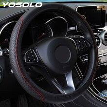 YOSOLO antypoślizgowa PU mikrofibra uniwersalna osłona kierownicy Skidproof tłoczenie skóra uniwersalna osłona na kierownicę do samochodu
