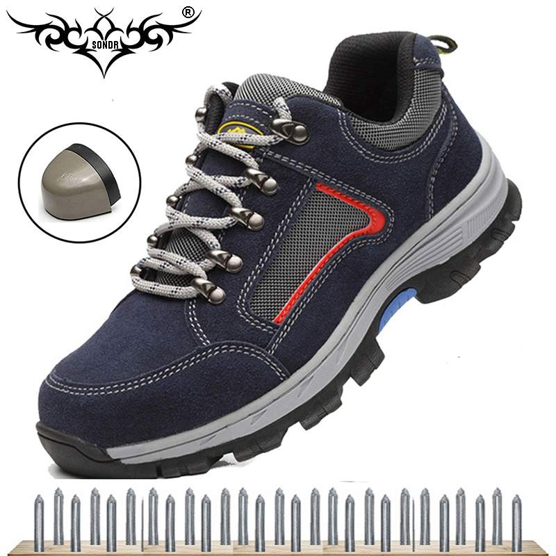 steel toe cap work safety shoes men's outdoor non-slip steel puncture waterproof construction safety boots shoes 2019 New 45 image