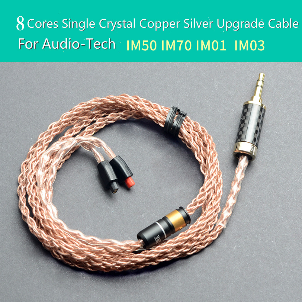OKCSC Single Crystal Copper Silver 8 Cores Upgrade Cable Cord MMCX Audiophile HIFI Line for ATH IM50 IM70 IM01 IM02 IM03 IM04 diy earphone cable upgrade wire pure silver cable for mmcx tf10 w4r im50 cks 2 5mm 4 4mm plug balance line