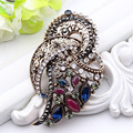 New Arrived Turkish Antique Brooch Women Gold Plating Hollow Out Crystal  Brooches Lapel Hijab Scarf Pins Wedding Party Jewelry