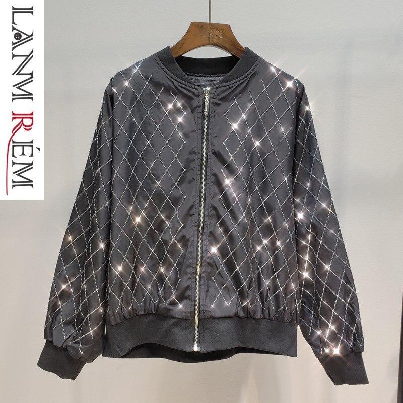 LANMREM 2019 nouveau printemps chaud forage Plaid noir veste pour femmes droite à manches longues mode all-match lâche court manteau QF190