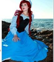 New 2017 Ariel The Little Mermaid Dress Women Adult Blue Princess Ariel Dress Fantasia Halloween Cosplay Costume