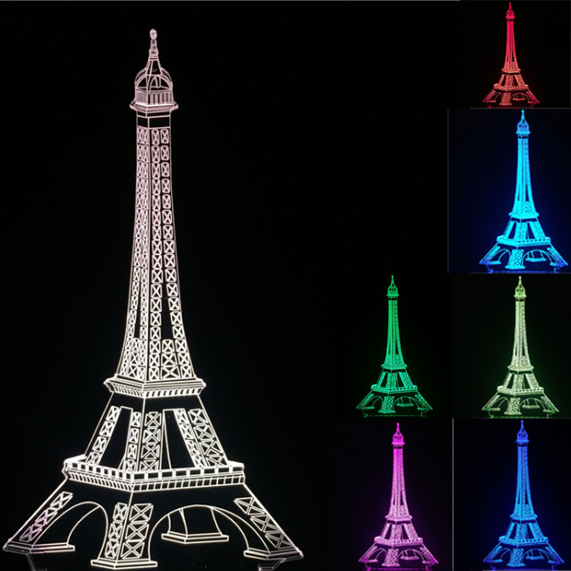3d Eiffel Tower Lava Led Desk Table Lamp Light 7 Colors
