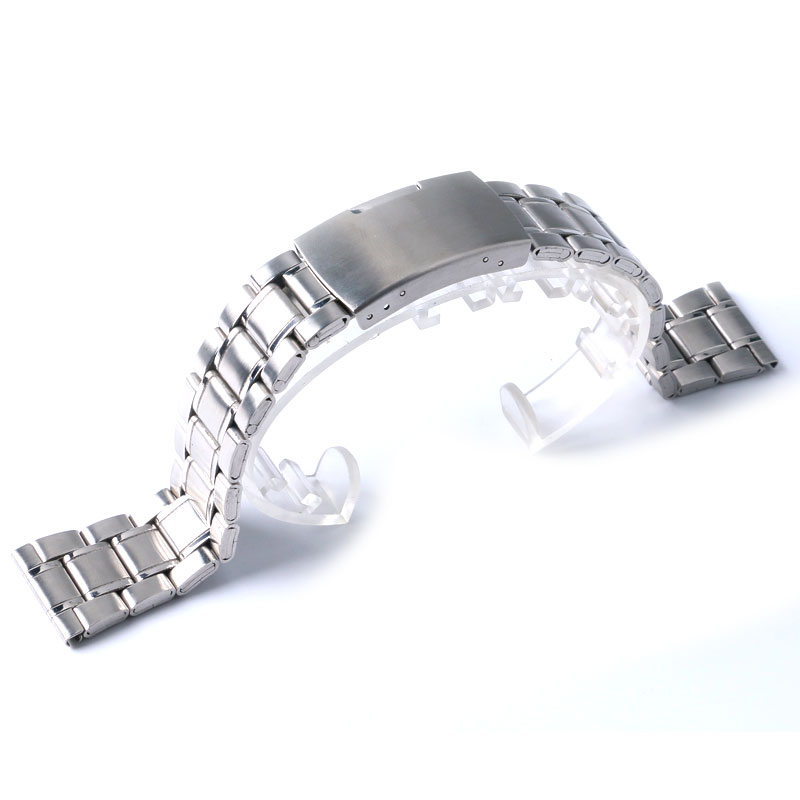 High Quality Watch Band Womens Men 20mm 22mm Buckle Silver Stainless Steel Watch Band Strap Straight