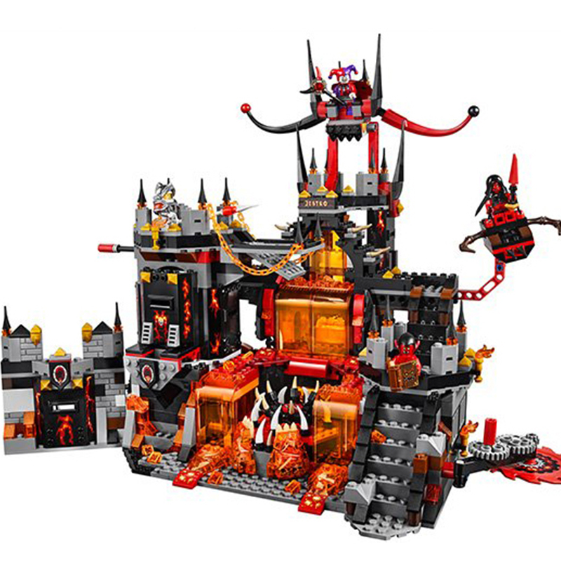 1237PC Nexus Knights Chevaliers Axl Jestros Volcano Lair Combinaison Marvel Models Building Blocks Toys Compatible with 14019 nexo knights jestros volcano lair combination marvel building blocks kits toys compatible legoe nexus