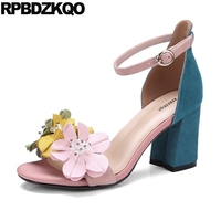 Elegant Shoes Open Toe Pink Flower Ankle Strap Nice Designer Pumps Beaded Chunky Thick High Heels Women Sandals 2018 Summer