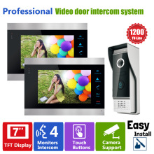 YSECU 7 Inch  Video Door Phone Recording HD 1200TVL 1  IR Night Doorbell Camera and 2 Hands Free Monitor Intercom Doorbell vigtech home 7 video intercom door phone system with 1 golden monitor 1 rfid card reader hd doorbell camera free shipping