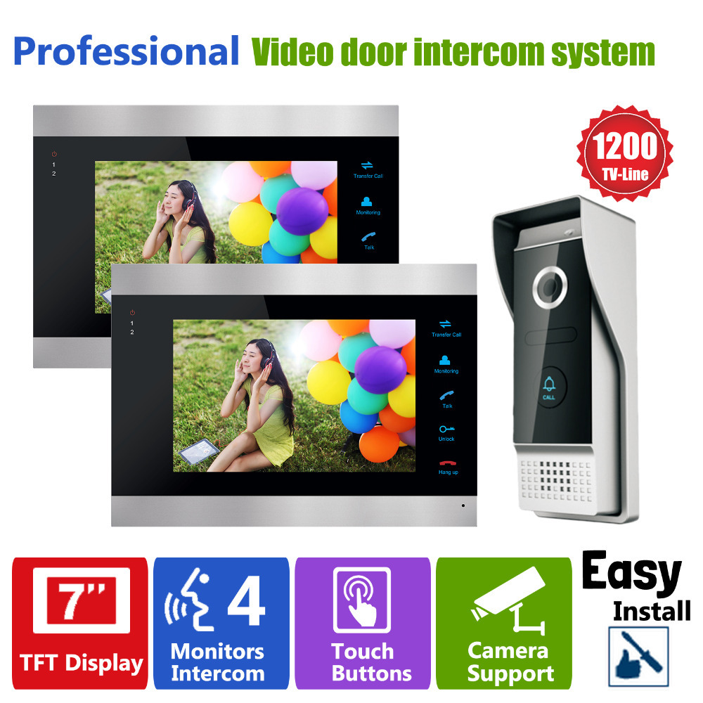 Homefong 7 Pouces Vidéo Porte Téléphone Enregistrement HD 1200TVL 1 IR Nuit caméra de sonnette et 2 Mains Libres Moniteur sonnette d'interphone
