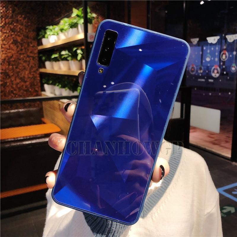 Зеркальный чехол для samsung Galaxy A70 A50 A30 A10 M30 M20 M10 S10 S10e S8 S9 A9 A7 A8 J4 J6 J8 плюс Note9 Мягкая обложка - Цвет: Синий