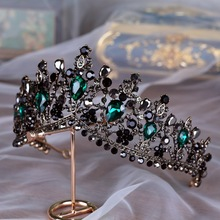 DIEZI, tiaras y coronas barrocas negras de piedra verde de cristal, diadema de novia para boda, diadema nupcial, accesorios para el cabello con corona de Reina