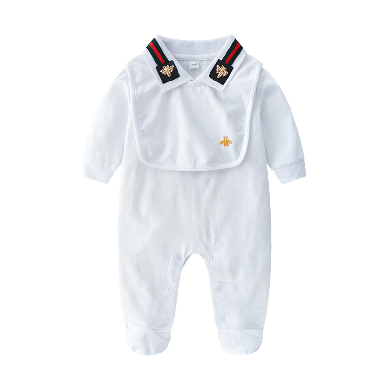 Newborn Baby Boy   Rompers   Baby Girl Clothes Infant Boys Jumpsuit +Bib 2 piece Clothing Set 100% Cotton Baby Clothes