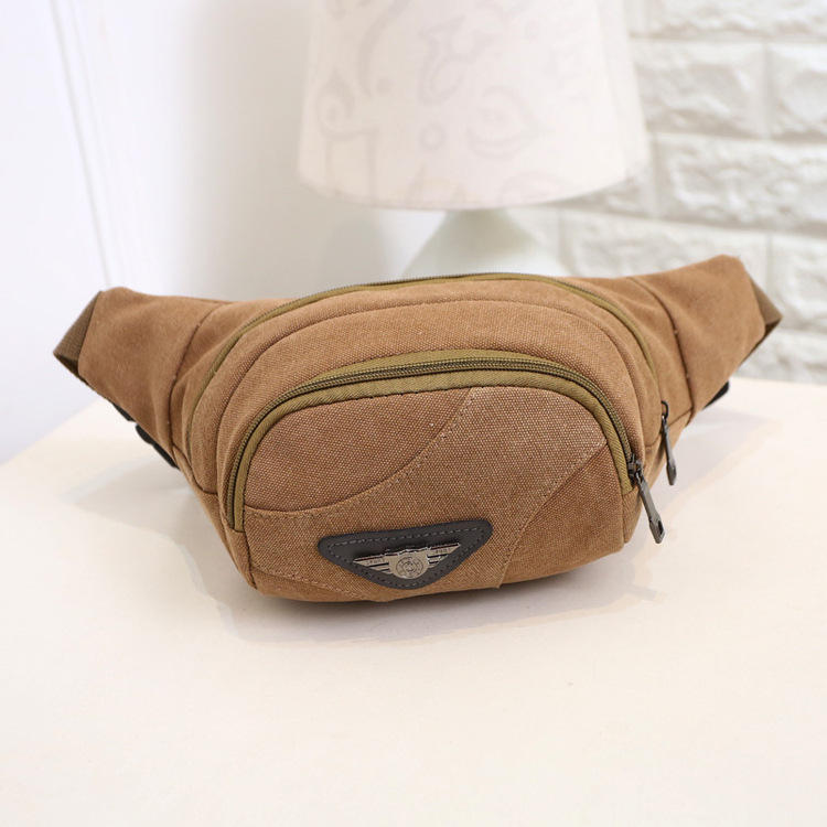 High Quality Canvas Waist Pack For Men Fanny Pack Green Leaves Style Bum Bag Women Money Belt Travelling Mobile Phone Bag