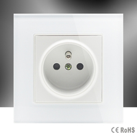 CNSKOU French Standard AC 110 250V 16A Electrical Power White Luxury Crystal Glass Panel Socket Wall