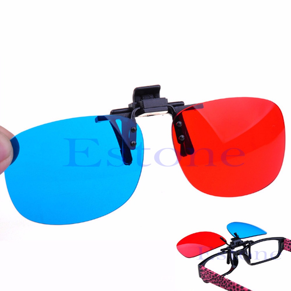 OOTDTY New Red Blue 3D Glasses Hanging Frame 3D Glasses Myopia Special Stereo Clip Type