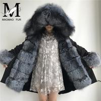 Real Fur Jacket Women Casual Vintage Long Winter Coat Natural Fox Fur Parka Real Fur Parkas Ladies Vintage Warm Thick Coats