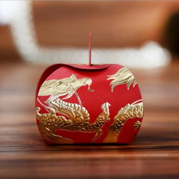 Classic wedding party favor candy sweets dragee box, Bronzing chinese dragon& phoenix gifts bomboniere packaging 100PCS