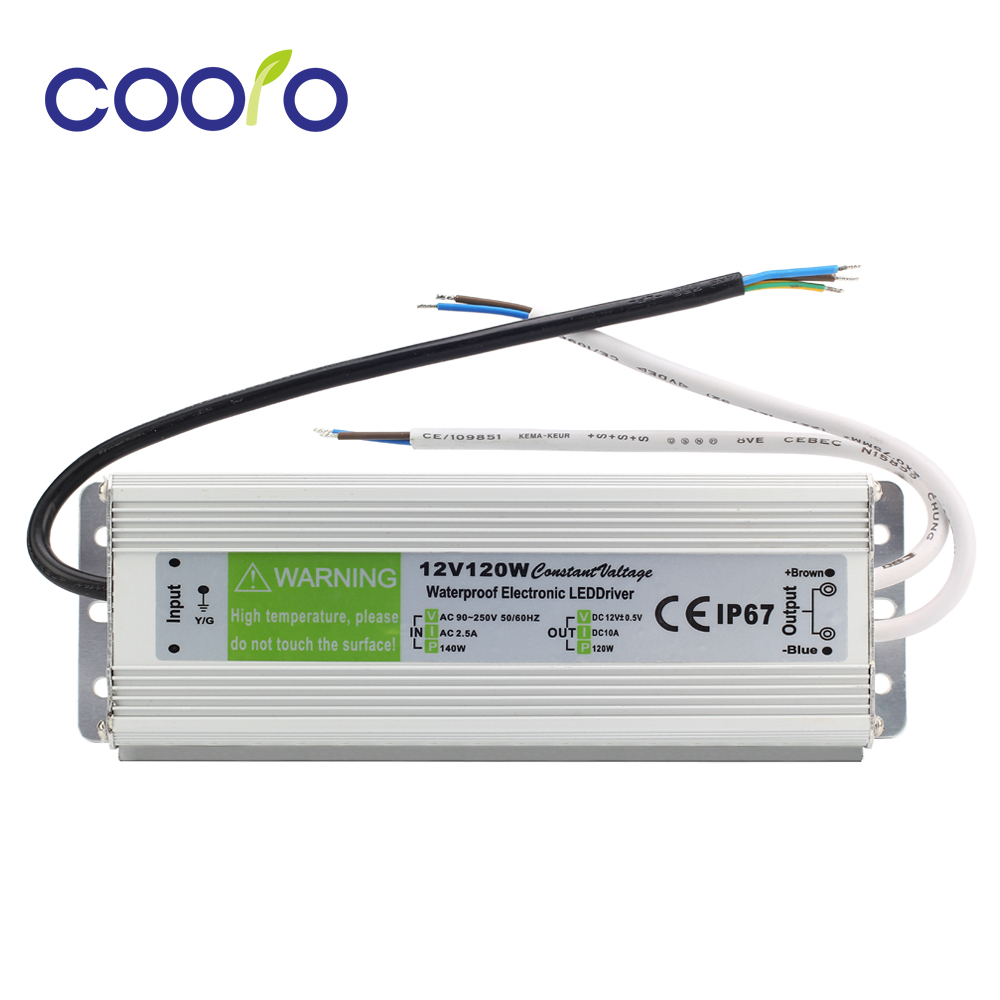 DC 12V 120W Waterproof ip67 Electronic LED Driver outdoor use power supply led strip transformer power adapter,Free shipping led driver transformer waterproof switching power supply adapter ac110v 220v to dc5v 20w waterproof outdoor ip67 led strip lamp