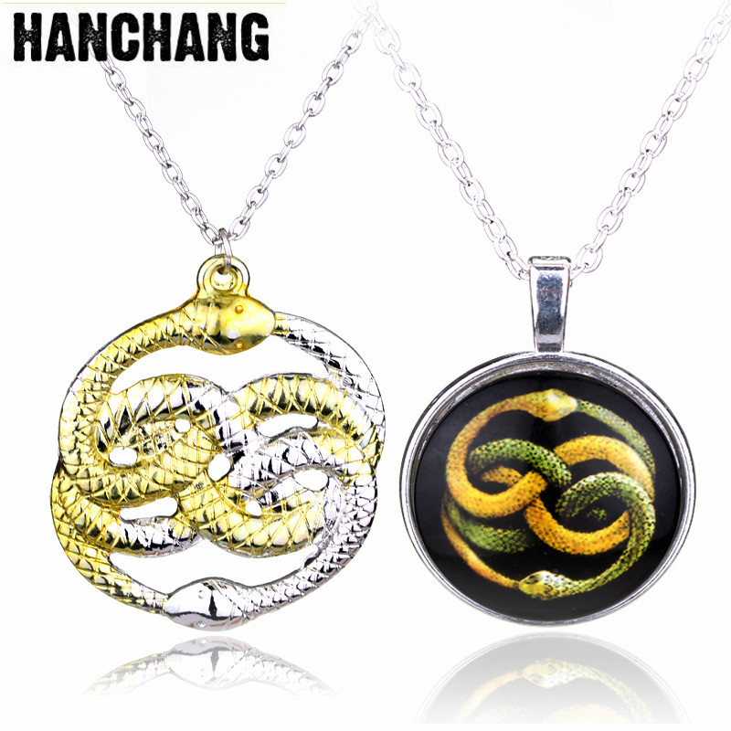 The Neverending Story Movie Necklace H P Double Snakes Gold Silver Loki Film Pendant Necklaces Men Gift ...
