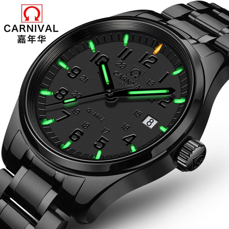 Carnival New T25 Tritium Luminous Quartz Watch Men Full Steel Black Watches Mens Clock Army Man Sport Wristwatch erkek kol saati - 2