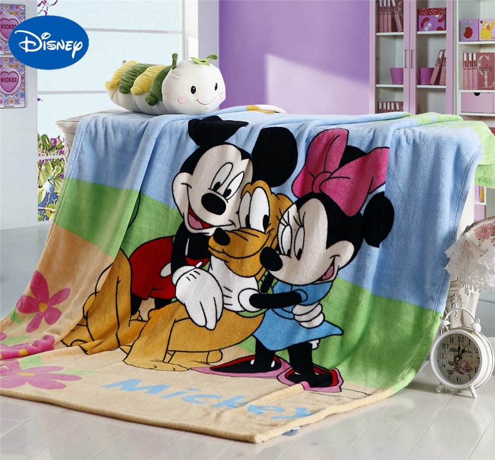 Mickey Minnie Mouse Blankets 150*200CM Children's Kids Bedroom Decor Polyester Brown Blue Flannel Disney Cartoon Character Print
