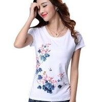 2016 Summer Plus Size Women S Short Sleeve 100 Cotton T Shirt Female Print Fashion T