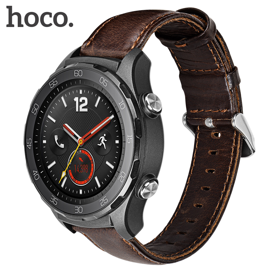 Original HOCO Quick Release Watch Band 20mm Genuine Leather Strap for Huawei Sport Smart Retro Replacement Wristband