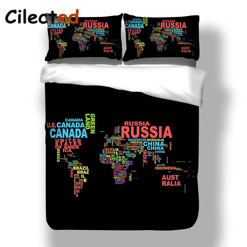 US $37.02 20% OFF|Cilected Design Black World Map Bedding Set Letter Duvet  Cover With Pillow Covers Soft Bedclothes 3Pcs Queen Size For Double Bed-in  ...
