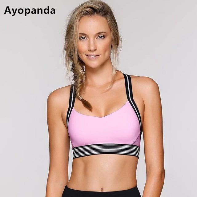 5cfbe0cd89 Ayopanda Fierce Sports Bra Women Medium Impact Removable Padded Yoga Bra  Top Pink patchwork Wireless Sports Vest