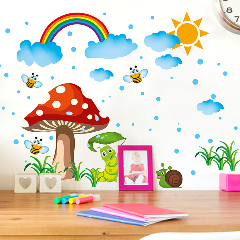 removable rainbow wall stickers creative mushroom wall art diy cartoon insects home decor decals. Black Bedroom Furniture Sets. Home Design Ideas