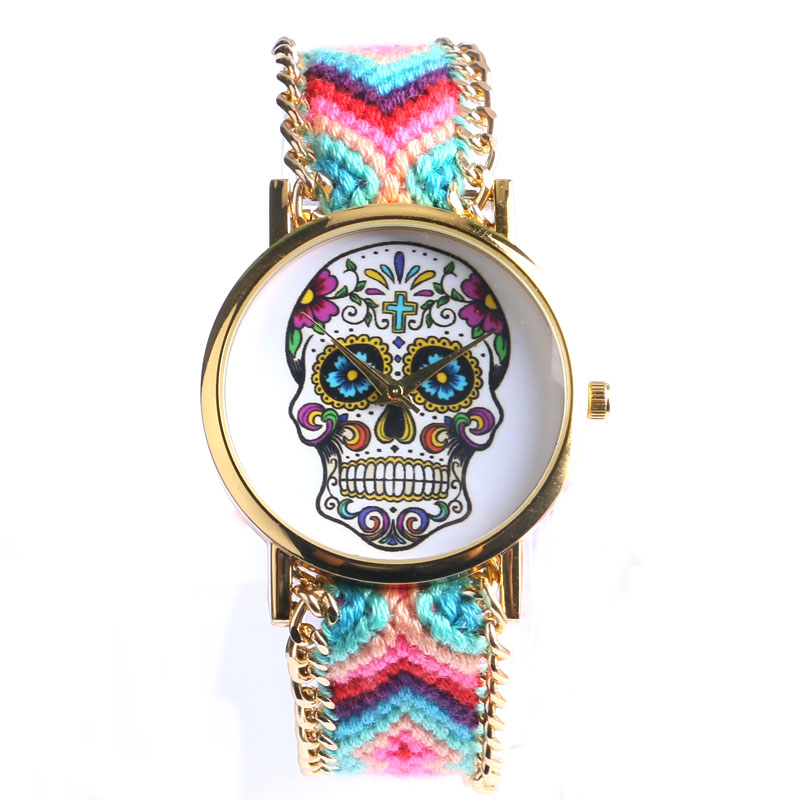 fashion sugar skull bohemian stainless steel women watch with 4 colors fabric band for gifts free