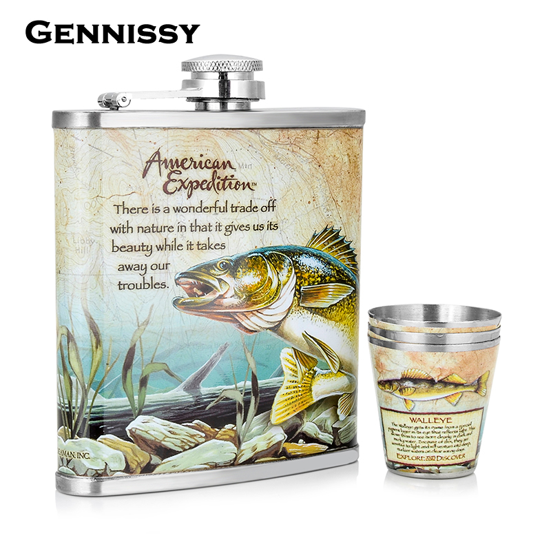 GENNISSY Outdoor Sports Portable Whiskey Flask Set New Underwater World Printed Stainless Steel Mini Hip Flask